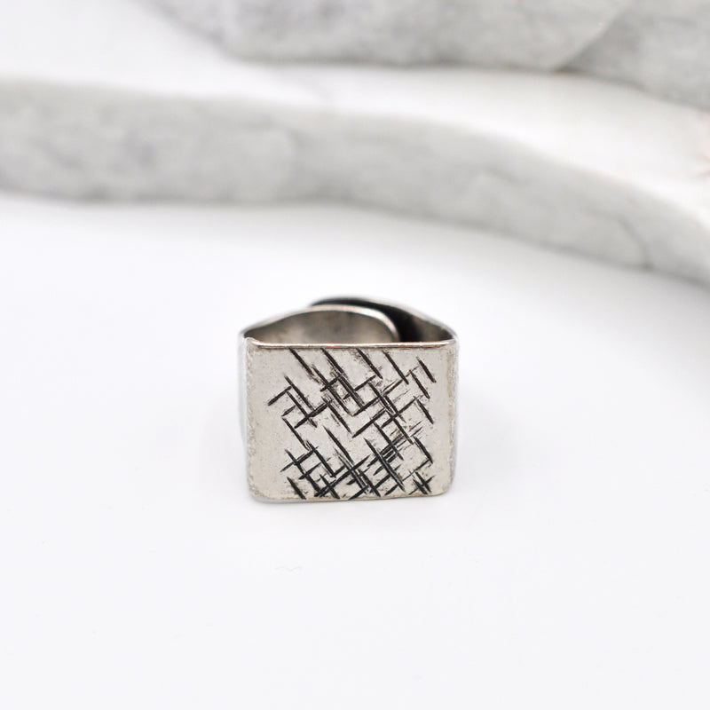 hammered silver square ring