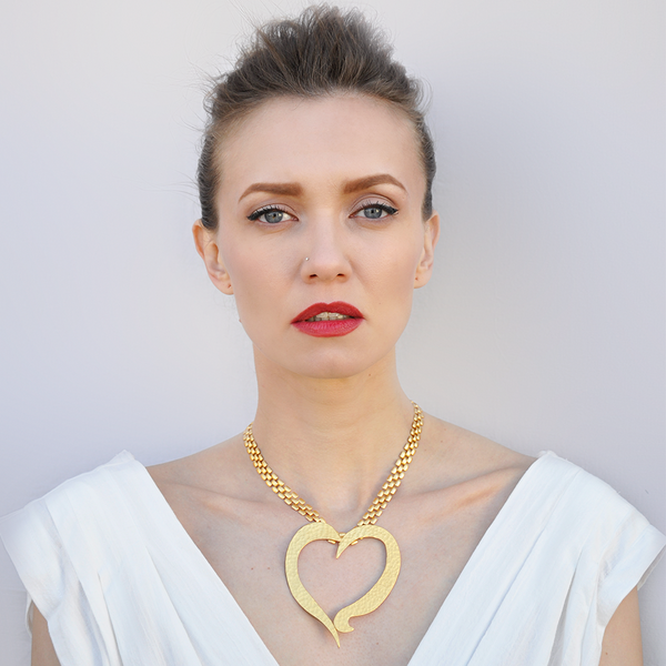 Gold large heart pendant necklace