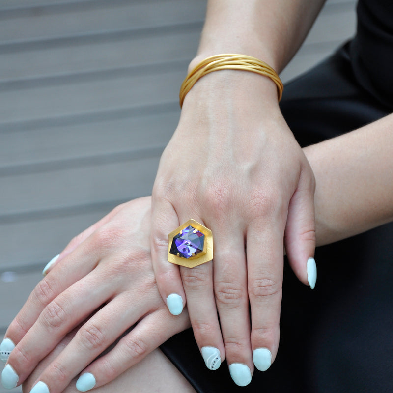 Hexagon gold ring with purple crystal