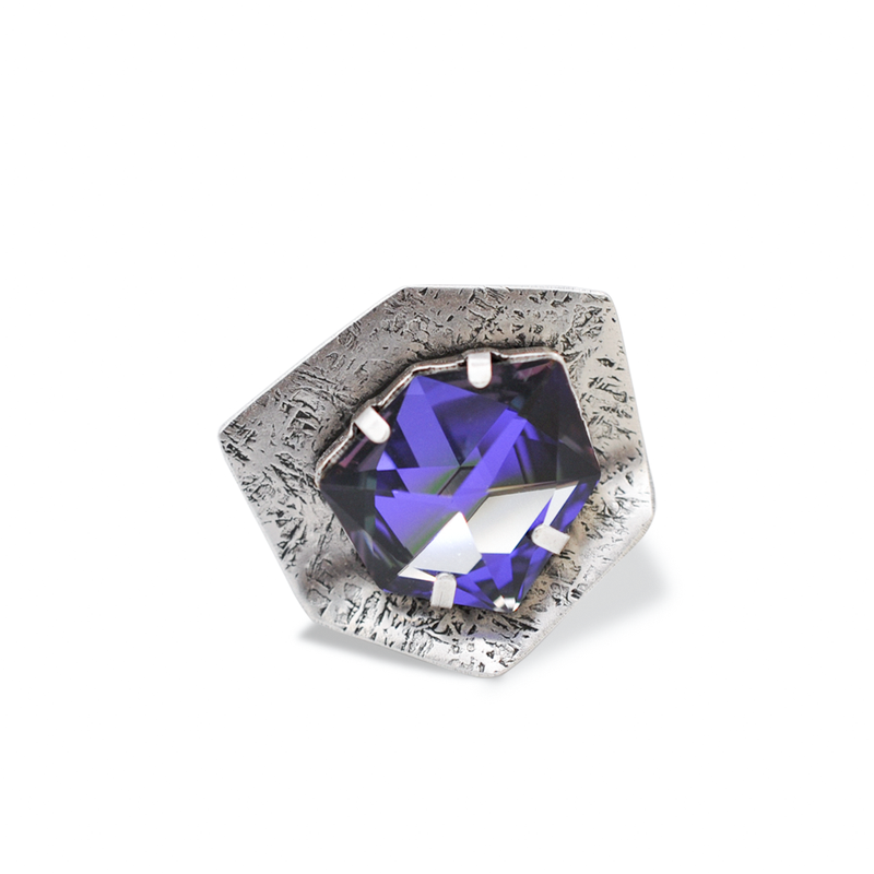 Silver Hexagon ring with large purple crystal