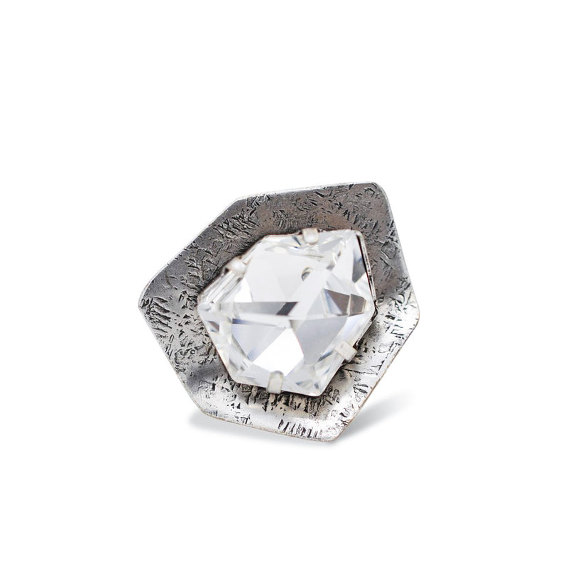 silver hexagon shape ring with crystal