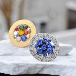 Round shape ring with Swarovski crystals