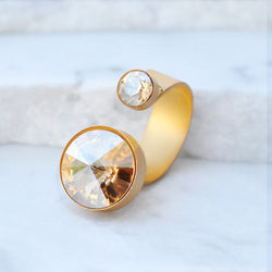 gold cocktail ring with swarovski crystals