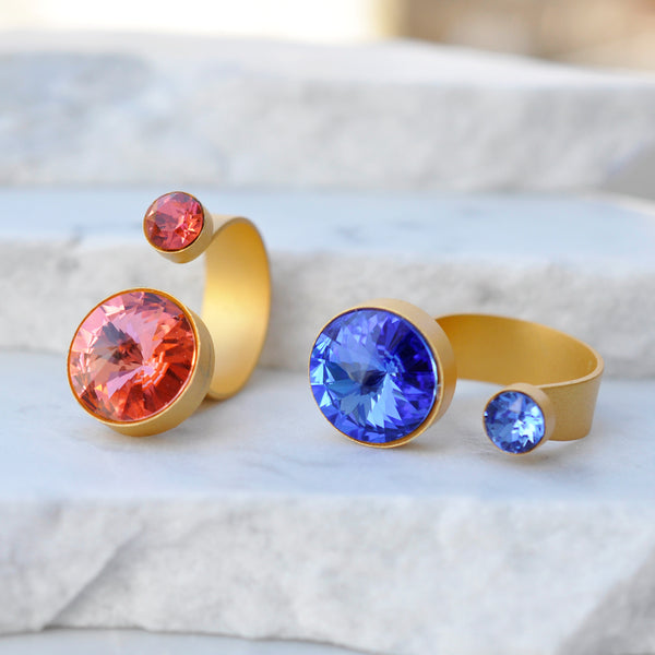Iris Gold Ring with Swarovski Crystals
