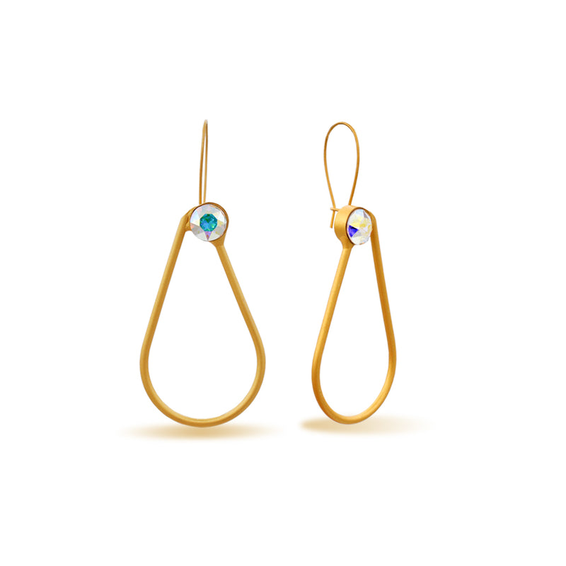 Drop shape gold earrings with blue crystal