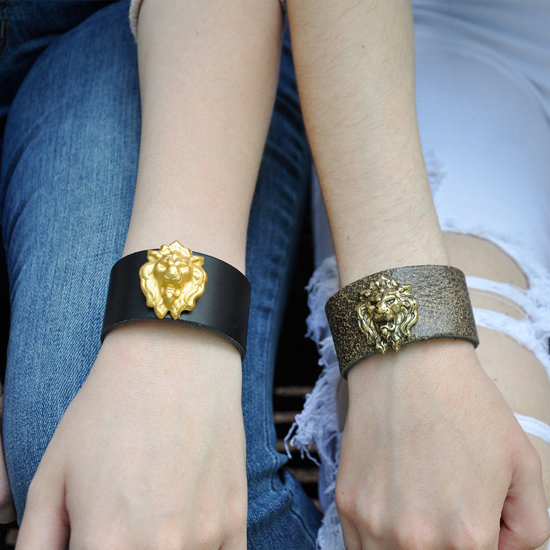Lion leather cuff bracelet