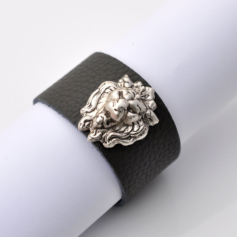 grey leather silver lion cuff
