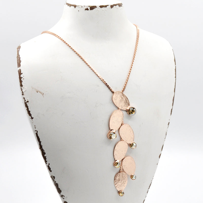 Rose gold princess necklace with golden Swarovski crystals