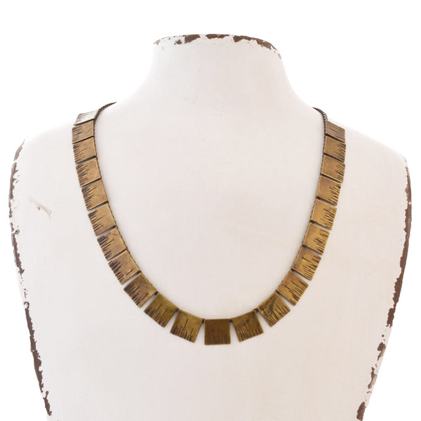 bronze minimalist style linked bar necklace