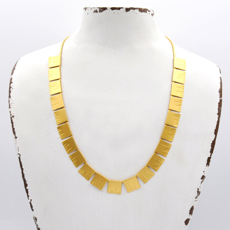 gold minimal link bar necklace
