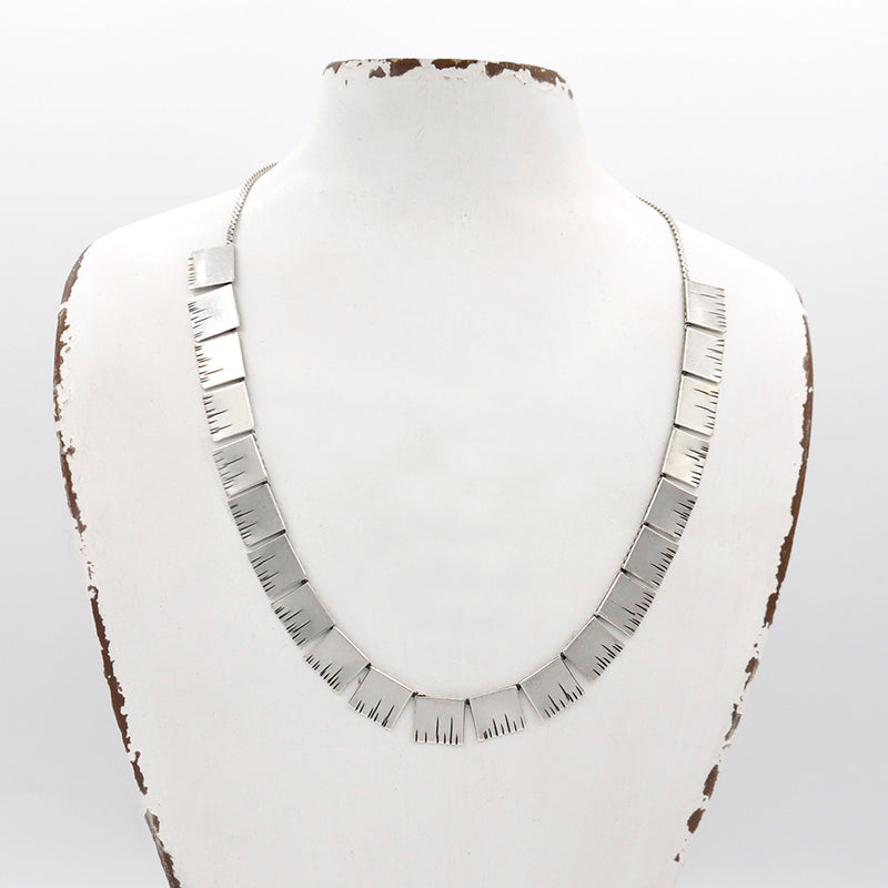 silver minimal link bar necklace