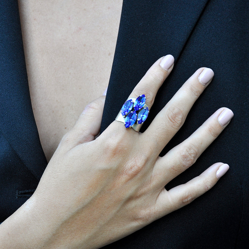 silver statement ring with marquise cut sapphire Swarovski crystals