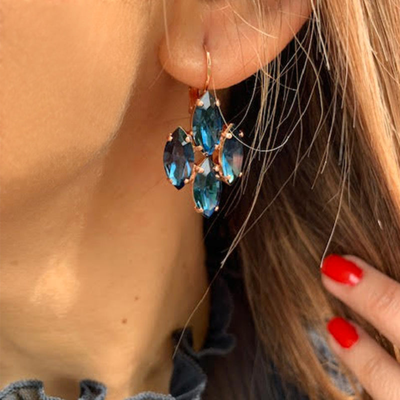 rose gold dangle earrings with marquise shape montana blue swarovski