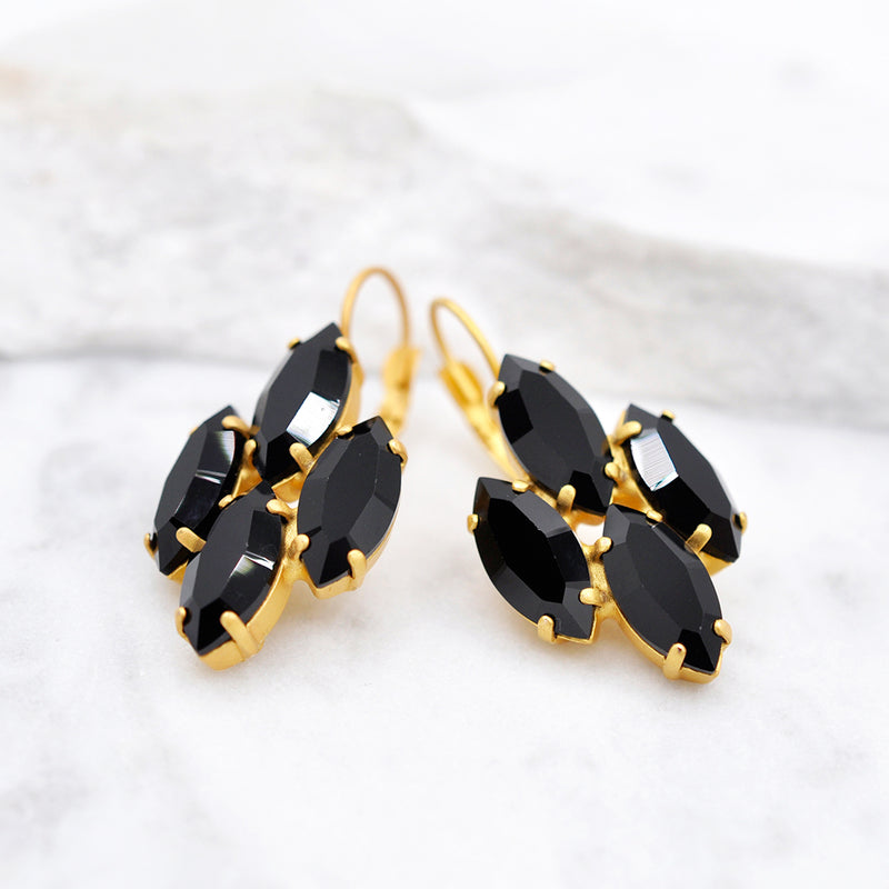 Marquise cut earrings with black onyx Swarovski crystals
