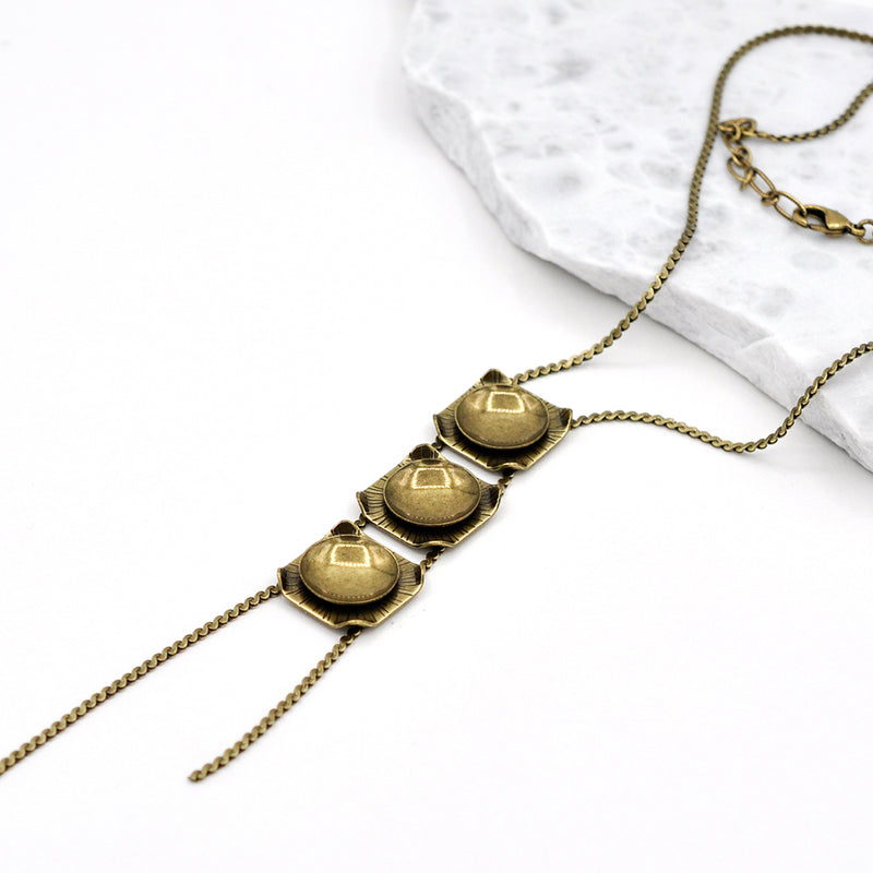 bronze long geometric chain necklace