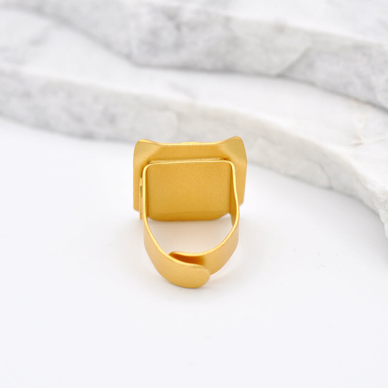 Square shape hammered  gold statement ring with a circular disk