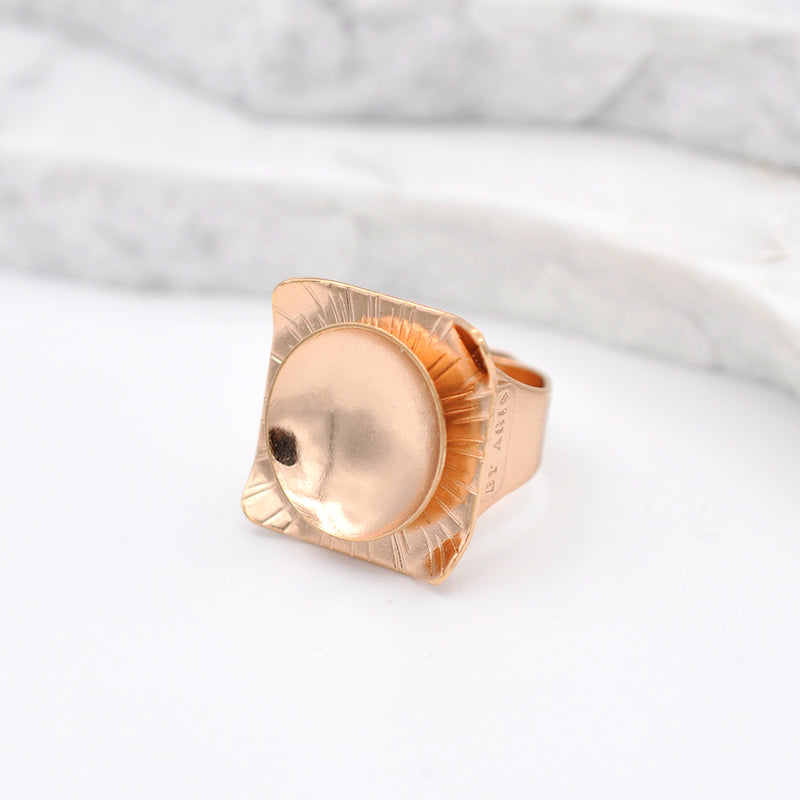 Square shape hammered  rose gold statement ring with a circular disk