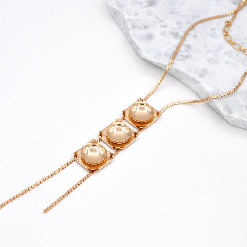 rose gold geometric pendant necklace