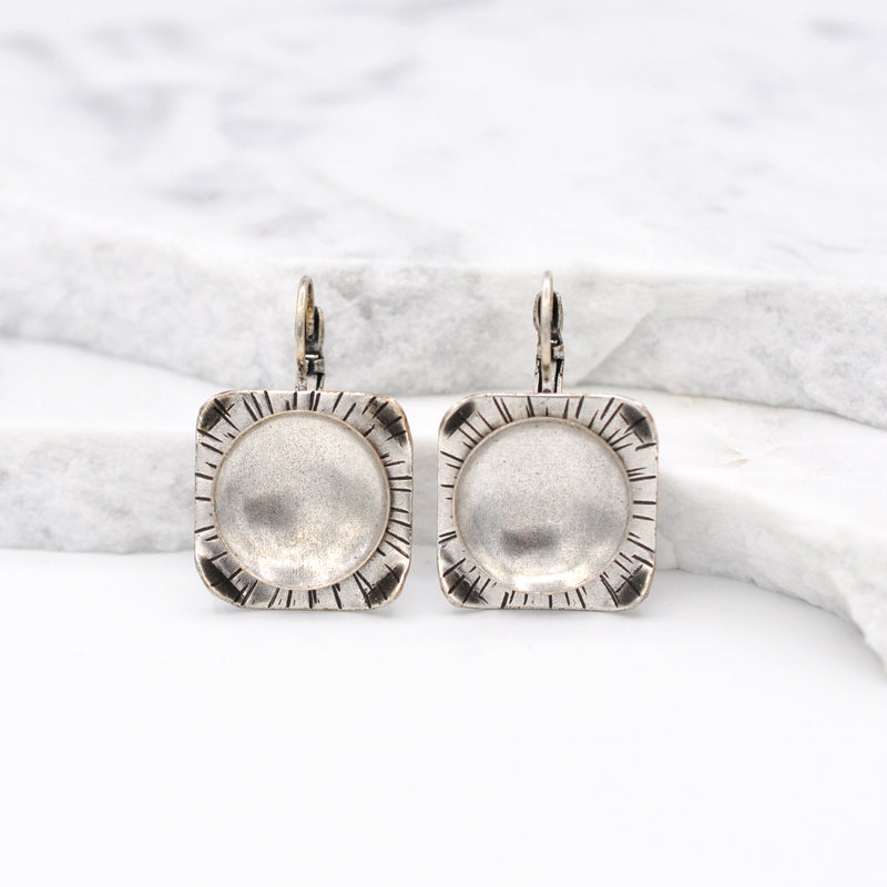 silver square dangle earrings