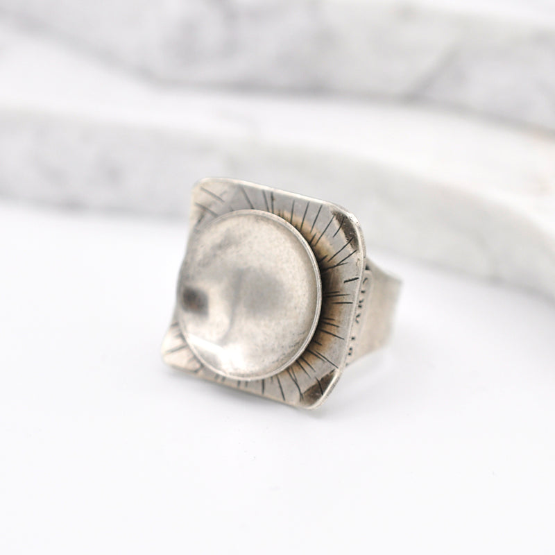 Square shape hammered  silver statement ring with a circular disk