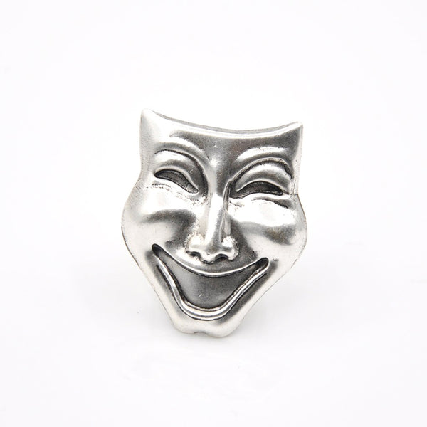Silver comedy mask statement ring