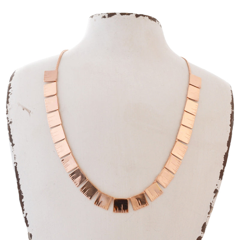 rose gold minimal link bar necklace