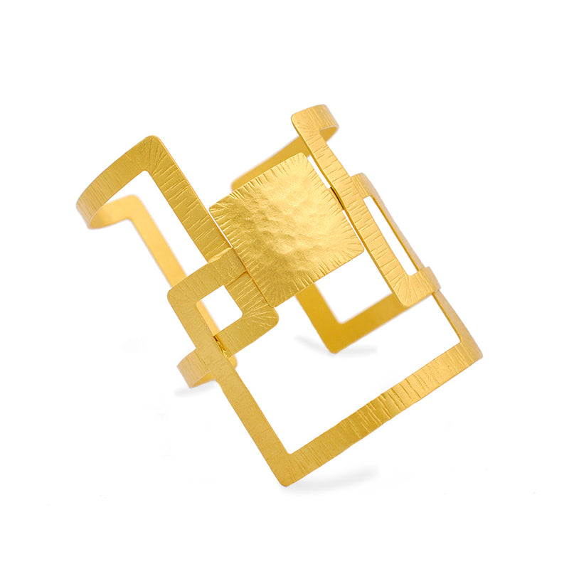 geometrical gold statement cuff bracelets