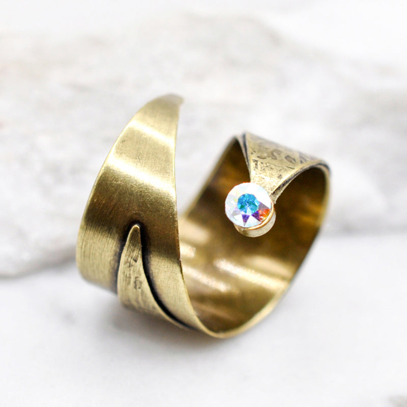 Bronze wrap hammered ring with aurora Swarovski crystal