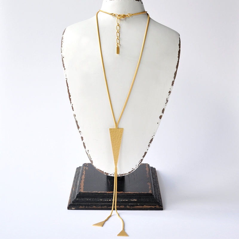 Hammered gold triangle  long chain necklace