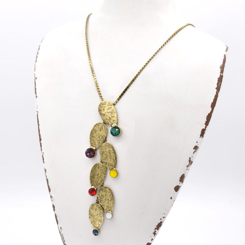 Bronze princess necklace with multicolor Swarovski crystals