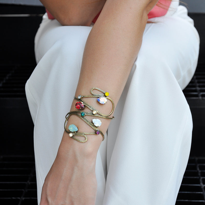 Wide bronze drop shape cuff bracelet with multicolor Swarovski crystals