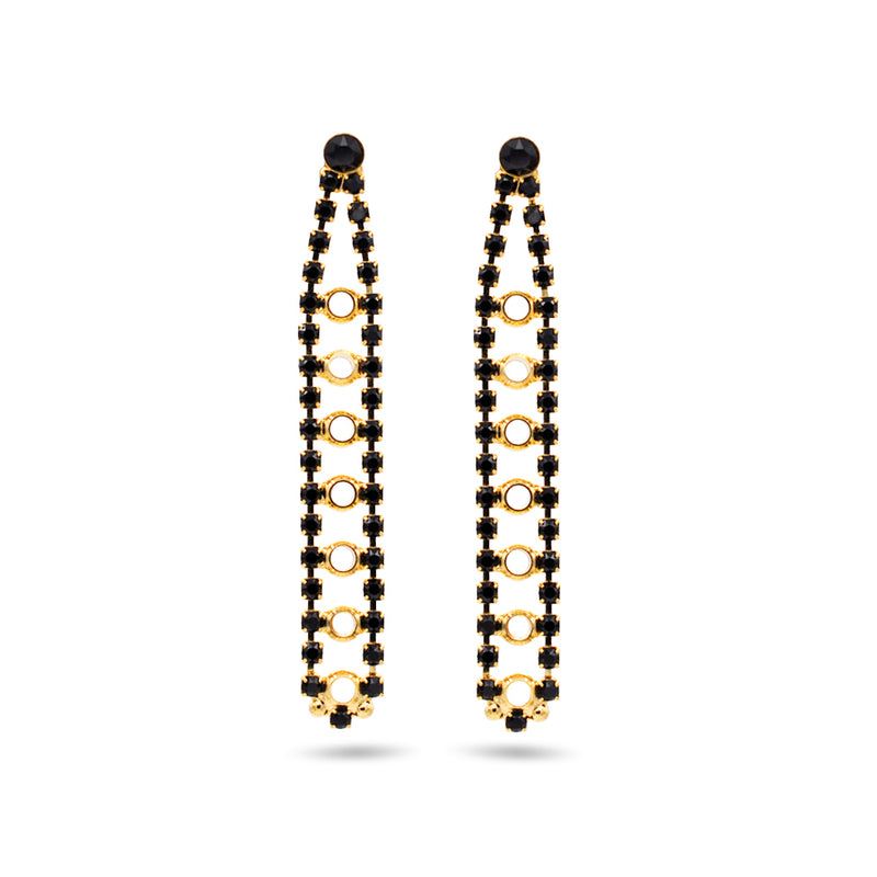 Gold chandelier earrings with black swarovski crystals