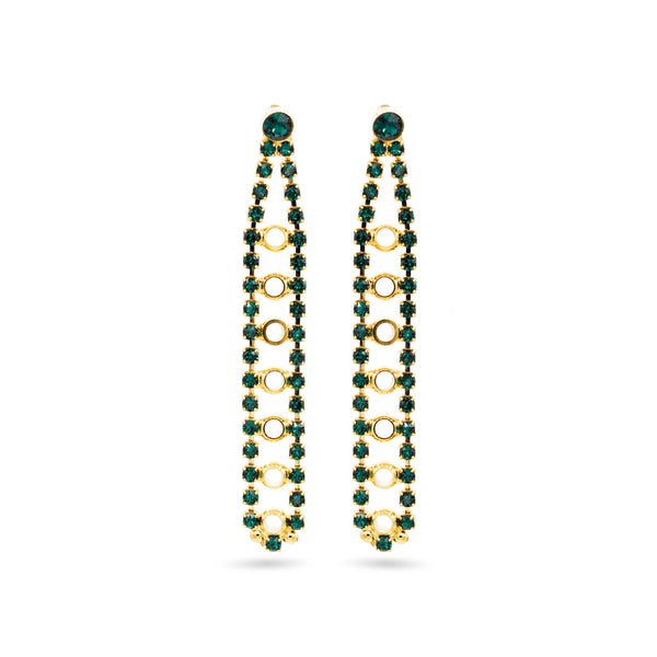 Gold chandelier earrings with emerald swarovski crystals