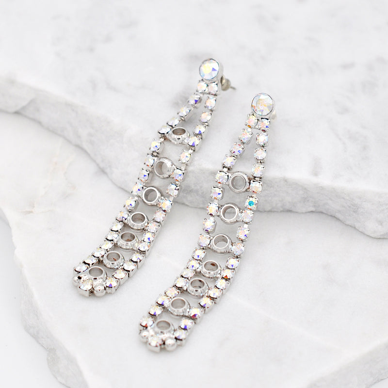 Silver chandelier earrings with aurora Swarovski crystals