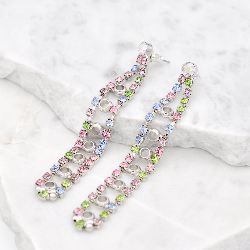 Silver chandelier earrings with multi color Swarovski crystals