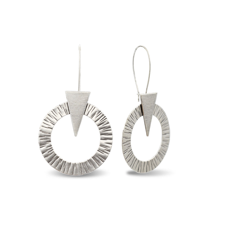 geometrical silver dangle earrings