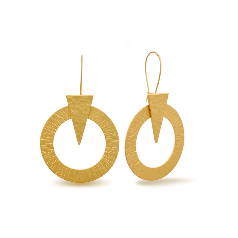 geometrical gold dangle earrings