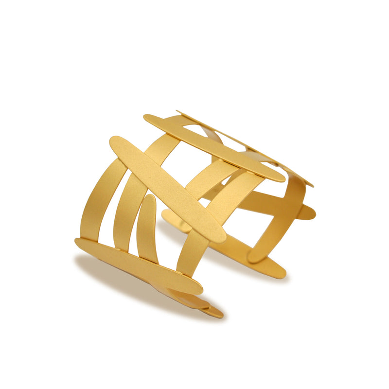 Gold olive three shape cuff bracelet