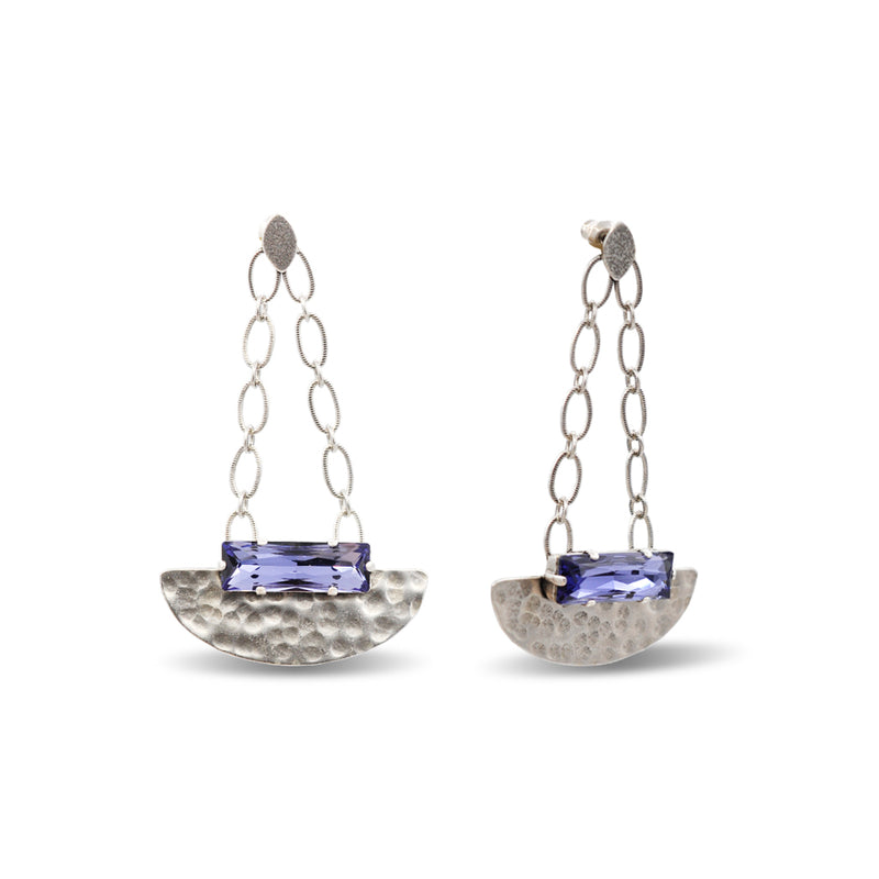 hammered silver dangle chandelier earrings with tanzanite crystal