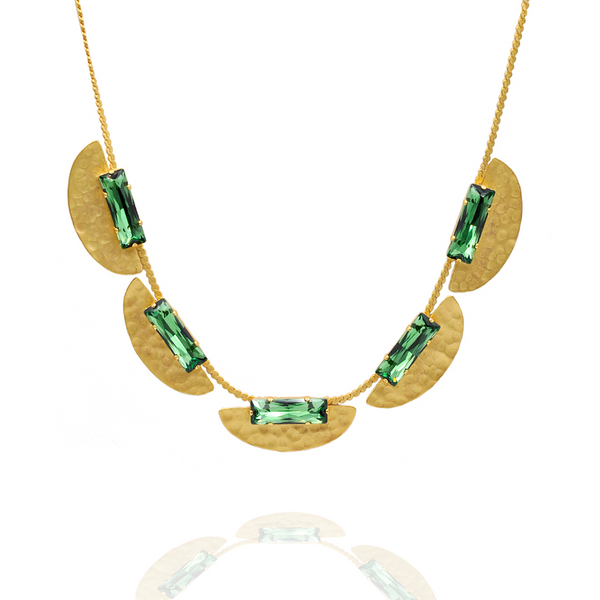 hammered gold collar costume necklace with Erinite Green crystals