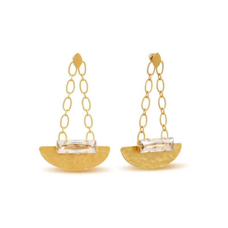 hammered gold dangle chandelier earrings with golden baguette crystals