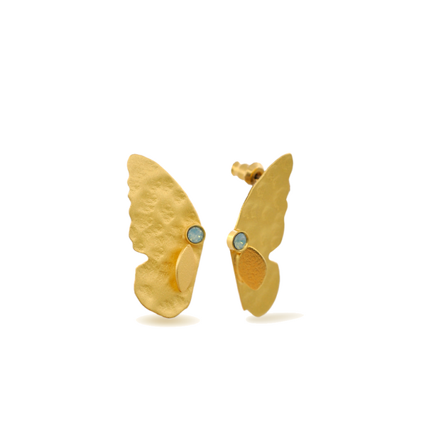 gold butterfly earrings with pacific blue