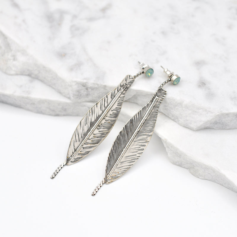 silver leaf earrings with pacific opal
