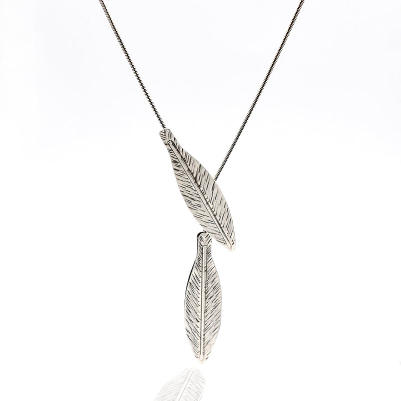 silver leaf long necklace