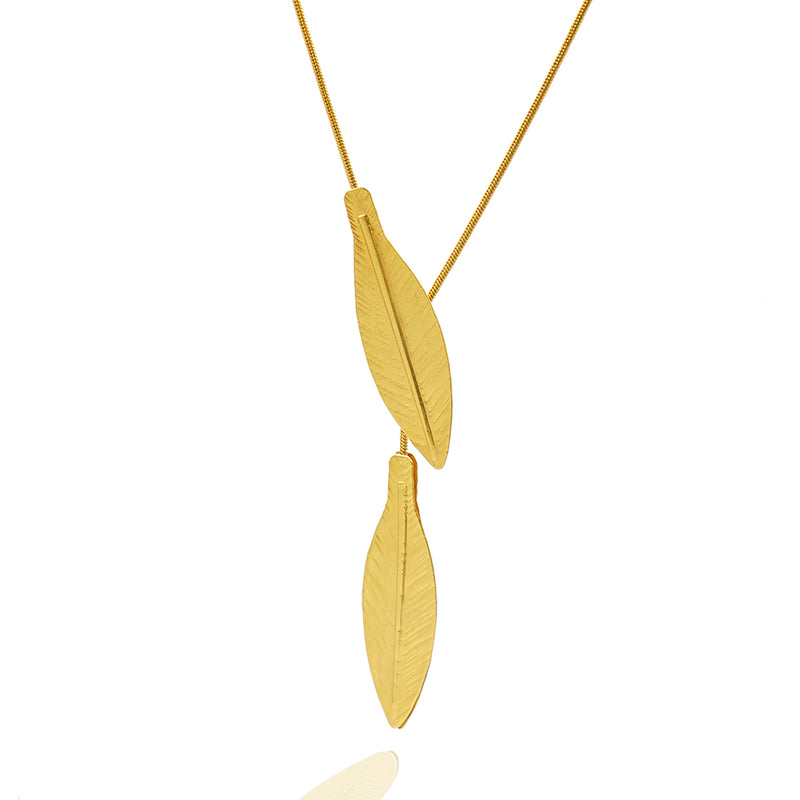 Gold leaf long necklace