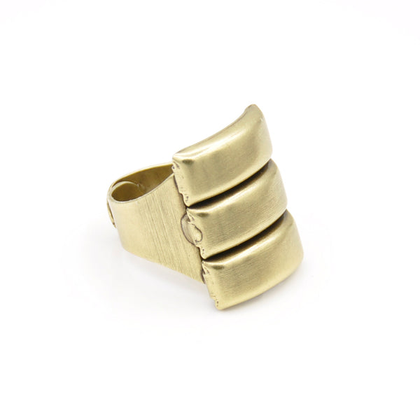 Bronze chunky industrial unisex ring