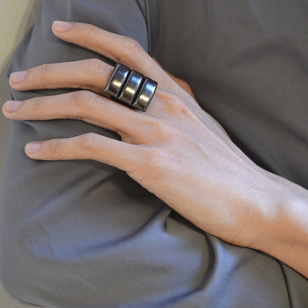 Black chunky industrial unisex ring
