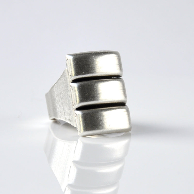 Silver chunky industrial unisex ring