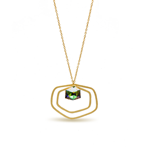 Hexagon shape long gold necklace with a green crystal