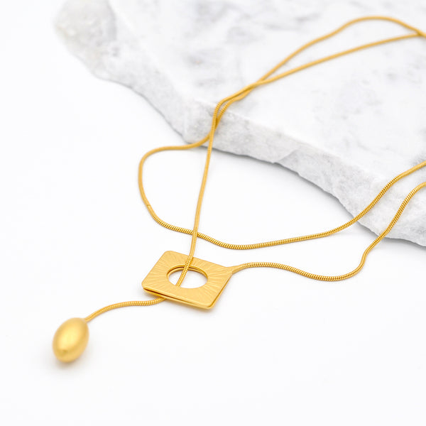 gold rhombus long chain necklace